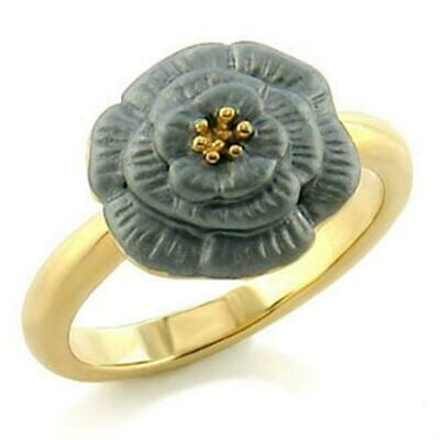 LO507 - Gold White Metal Ring with Top Grade Crystal  in Light Smoked
