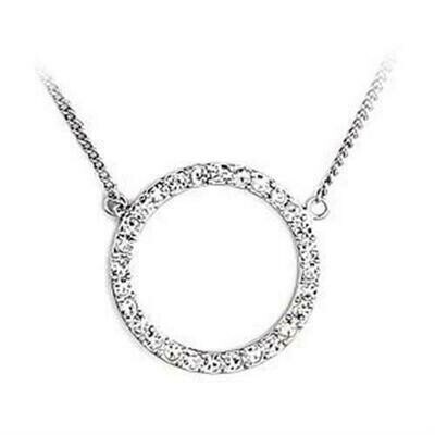 LOA478 - Rhodium Brass Necklace with Top Grade Crystal  in Clear