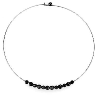 LO4725 - Ruthenium White Metal Necklace with Synthetic Synthetic Glass in Jet