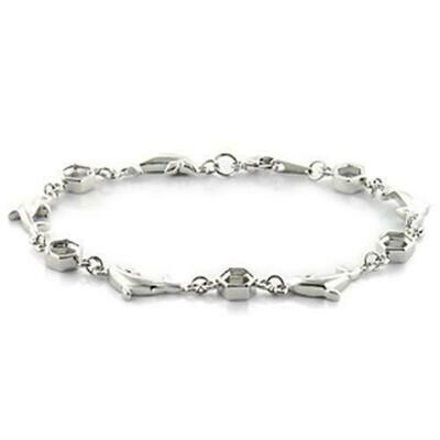 LO731 - Imitation Rhodium Brass Bracelet with No Stone