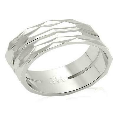 LO990 - Imitation Rhodium Brass Ring with No Stone