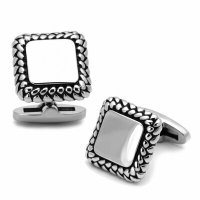 TK1246 - High polished (no plating) Stainless Steel Cufflink with Epoxy  in Jet