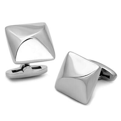 TK1247 - High polished (no plating) Stainless Steel Cufflink with No Stone