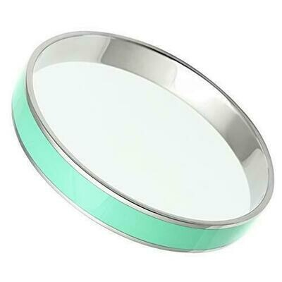 TK537 - High polished (no plating) Stainless Steel Bangle with Epoxy  in Aquamarine