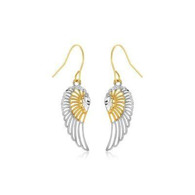 Two-Tone Wing Drop Earrings in 10K Gold