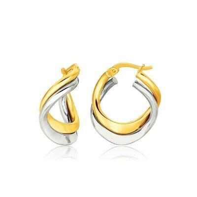 14k Two Tone Gold Earrings in Fancy Double Twist Style