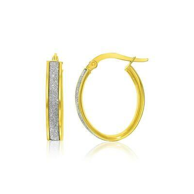 14k Two-Tone Gold Glitter Center Oval Hoop Earrings
