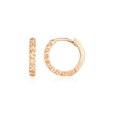 14k Rose Gold Petite Textured Round Hoop Earrings