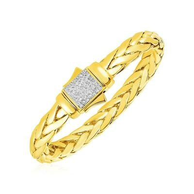 Woven Rope Bracelet with Diamond Accented Clasp in 14k Yellow Gold