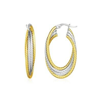 14k Two Tone Gold Four Part Oval Hoop Earrings