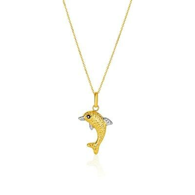 14k Two-Toned Yellow and White Gold Reversible Dolphin Pendant