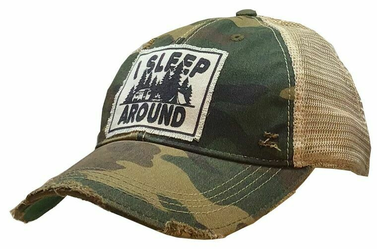 I Sleep Around - Distressed Trucker Hat