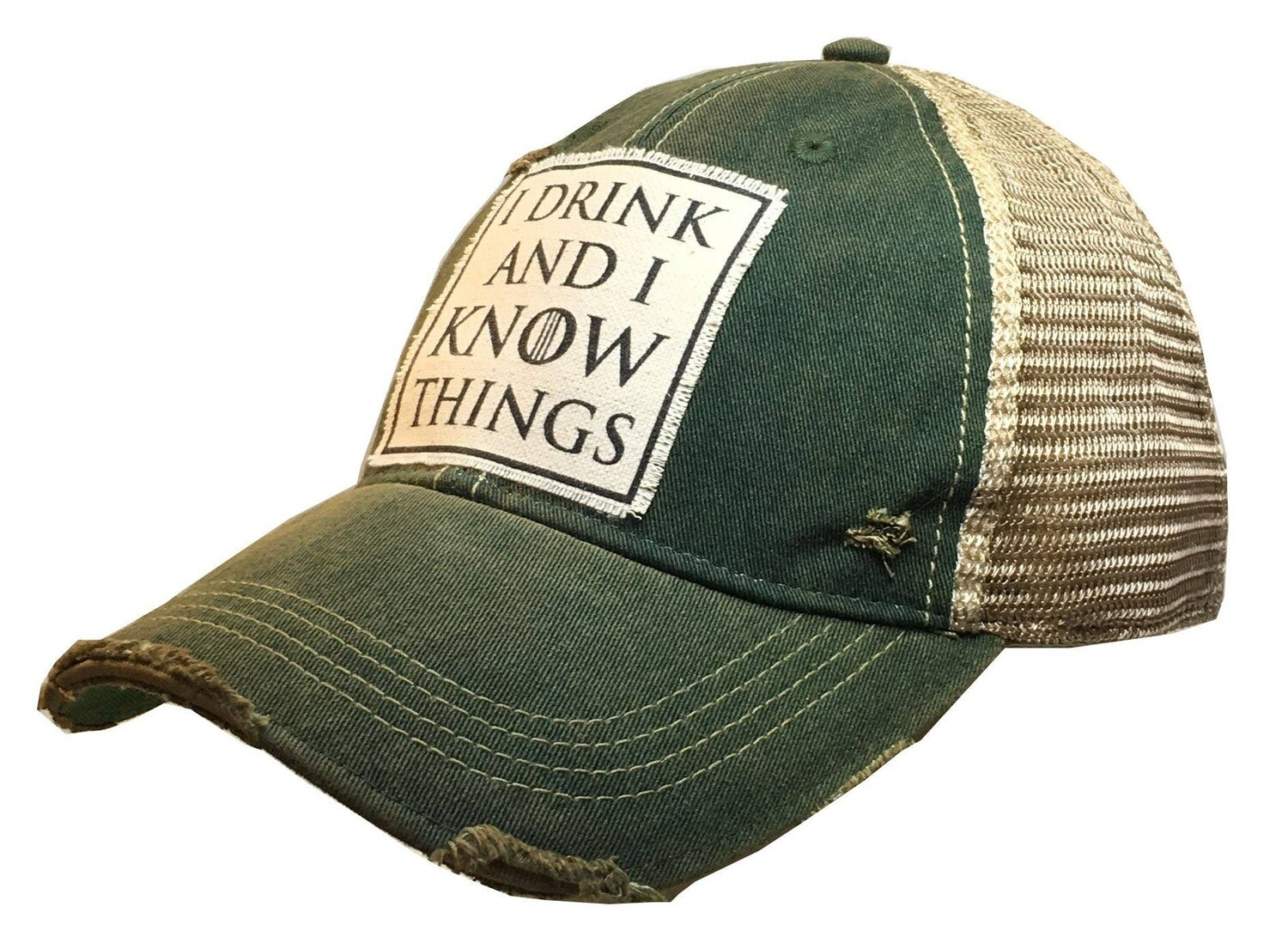 Vintage Life - I Drink And I Know Things Distressed Trucker Cap Cap