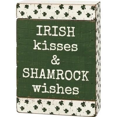 PBK-Slat Box Sign - Irish Kisses & Shamrock Wishes