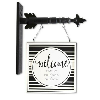 Black and White Welcome Hanger
