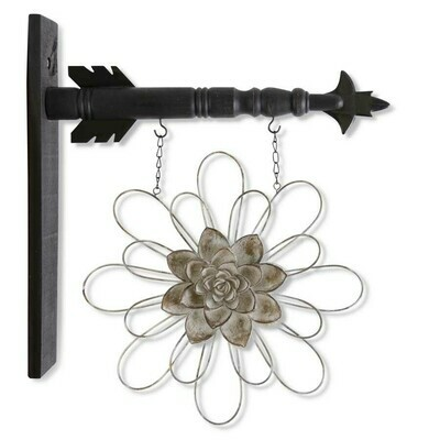 13.5 Inch Gray Metal Wire Flower with Resin Center