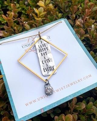 Unique Twist Jewelry - I Love Jesus But I Cuss A little Pendant Necklace
