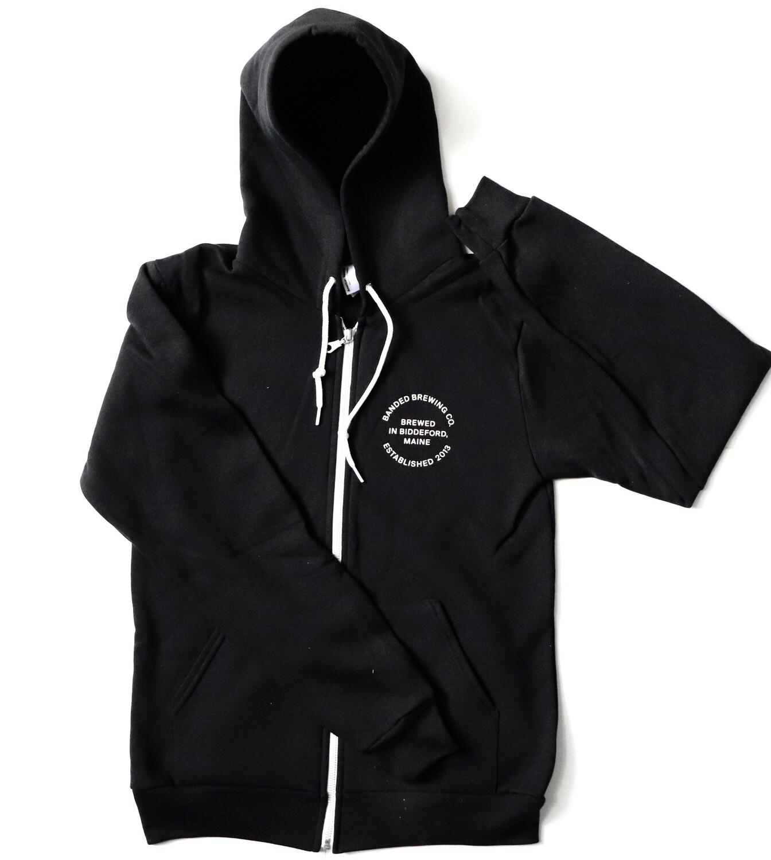 Zip Hoodie BLACK / WHITE LOGO