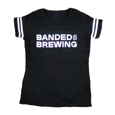 Ladies' Striped Sleeve V-neck Shirt