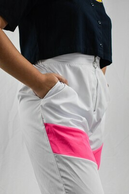 White with Pink Stripe Zippered Joggers