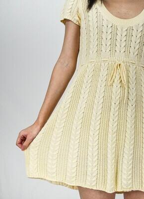 Ralph Lauren Cream Short Sleeve Cable Knit Dress