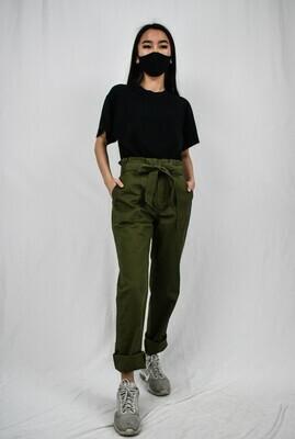 Olive Green Paperbag Pants