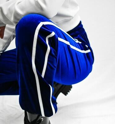 Blue and White Striped Velvet Joggers