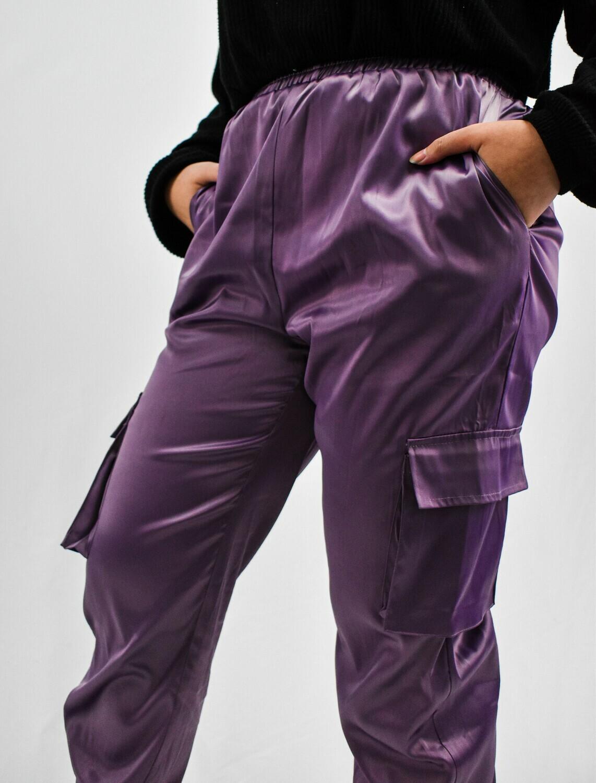 Purple Satin Joggers