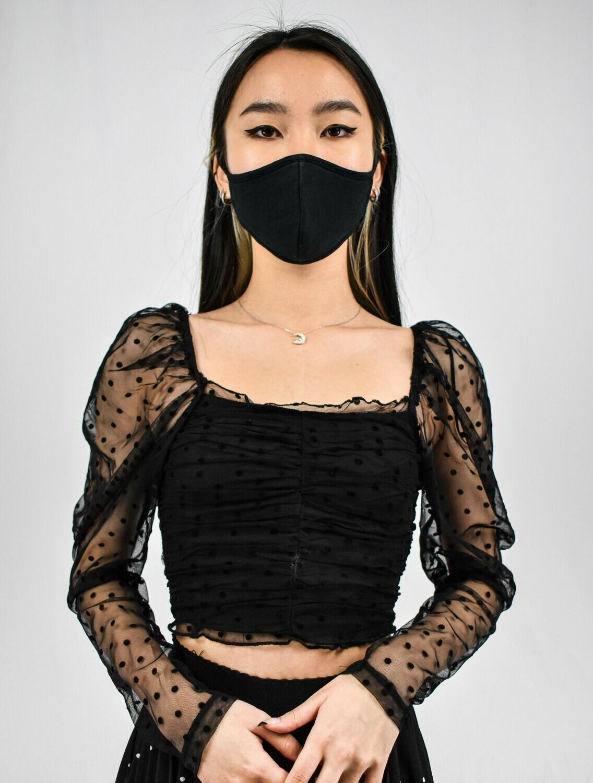 Black Mesh Puff Sleeved Polka Dot Top