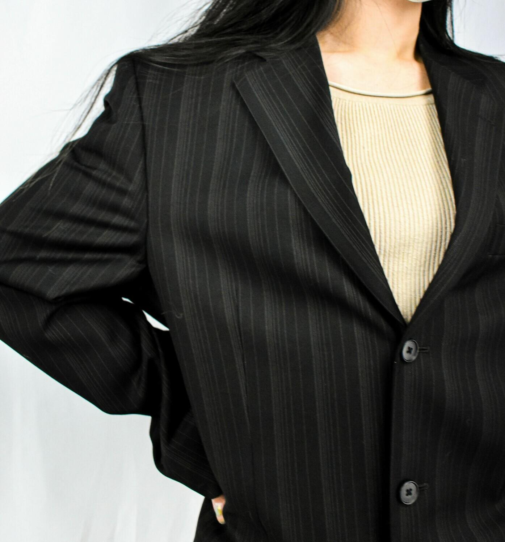 Black Pinstriped Oversized Blazer