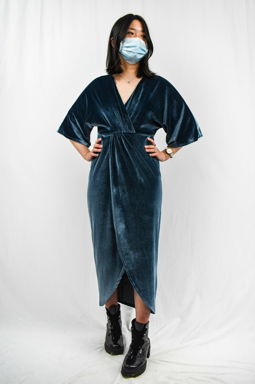 Blue Velvet Long Wrap Dress