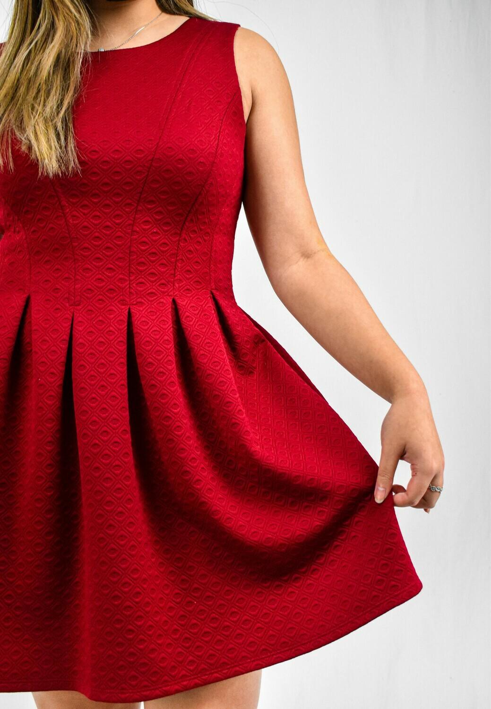 Red Textured Skater Dress