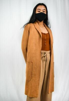Brown Faux Suede Long Coat