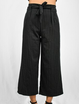 Black Pinstriped Tie-Front Pants