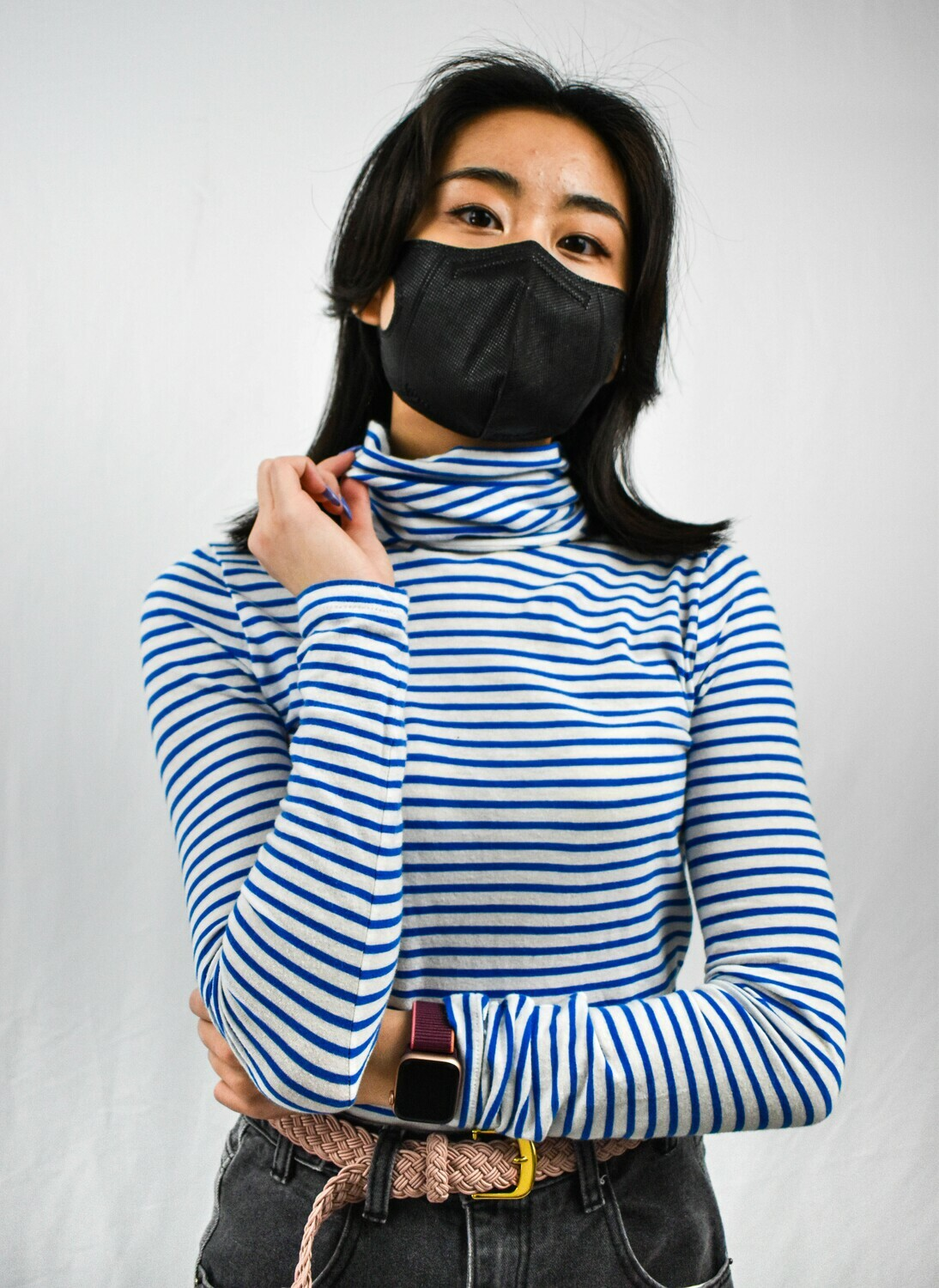 Blue and White Striped Turtleneck