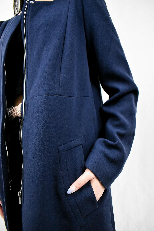 Navy Blue Boucle Coat