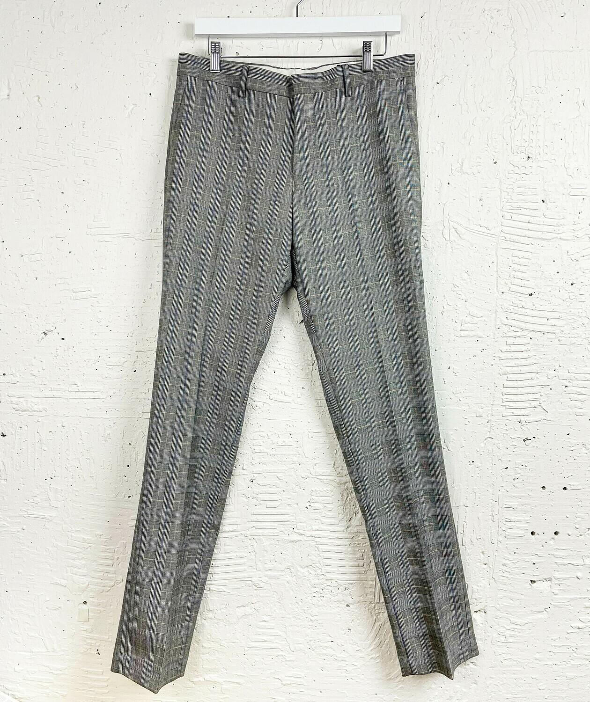 Grey Plaid Slim Fit Dress Pants