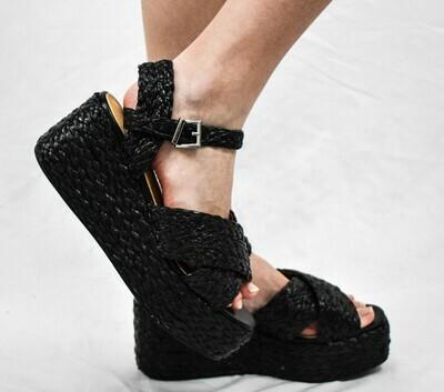 Black Woven Platform Sandals