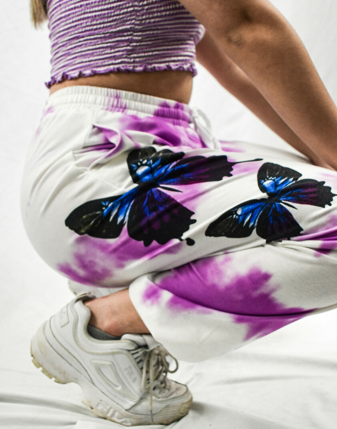Purple Tie-Dyed Butterfly Printed Sweatpants