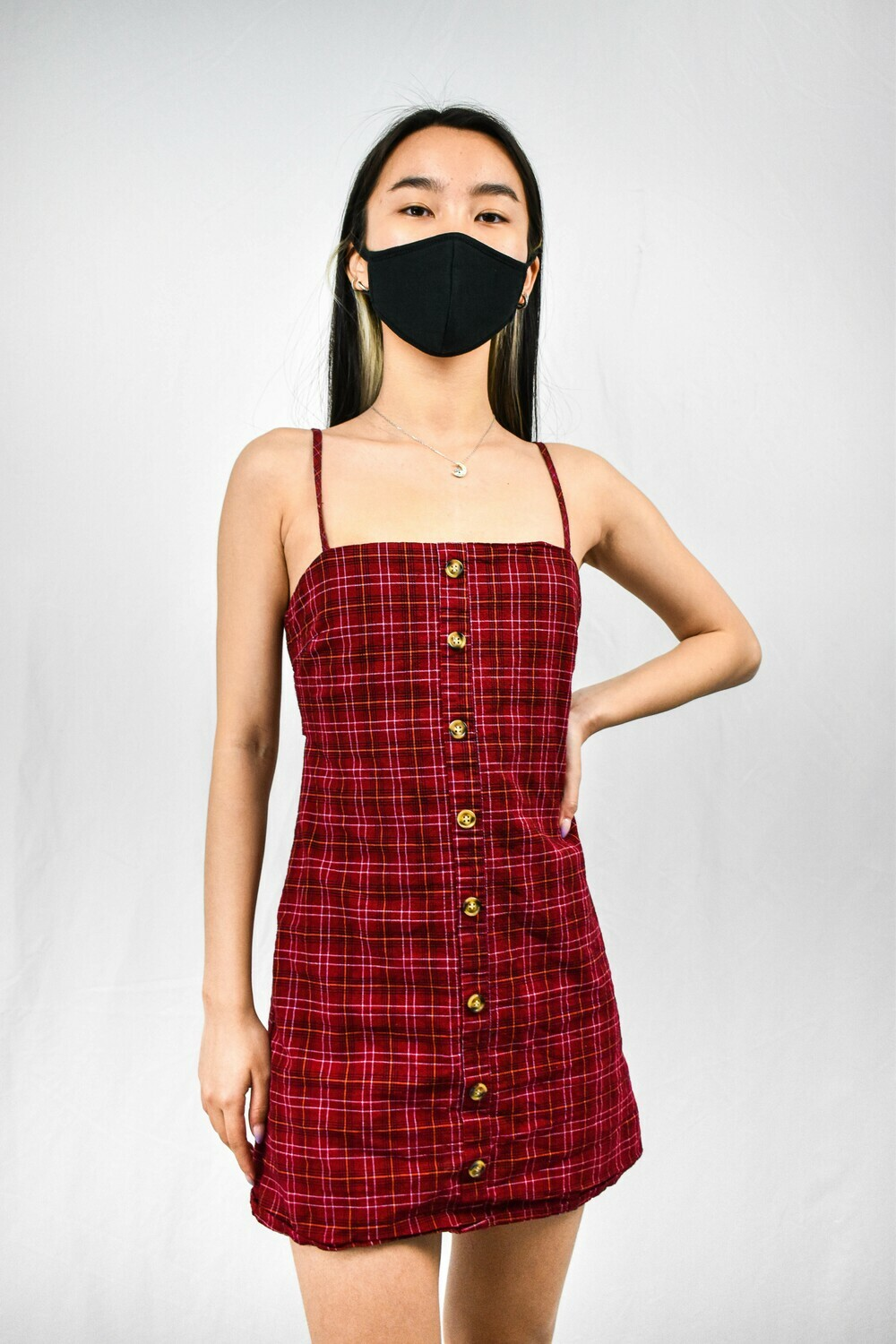 Red Plaid Buttoned Dress