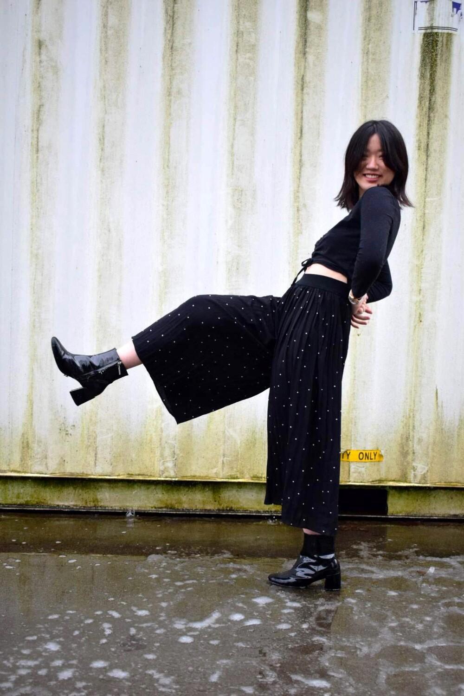 Black Polka-Dotted Flowy Pants