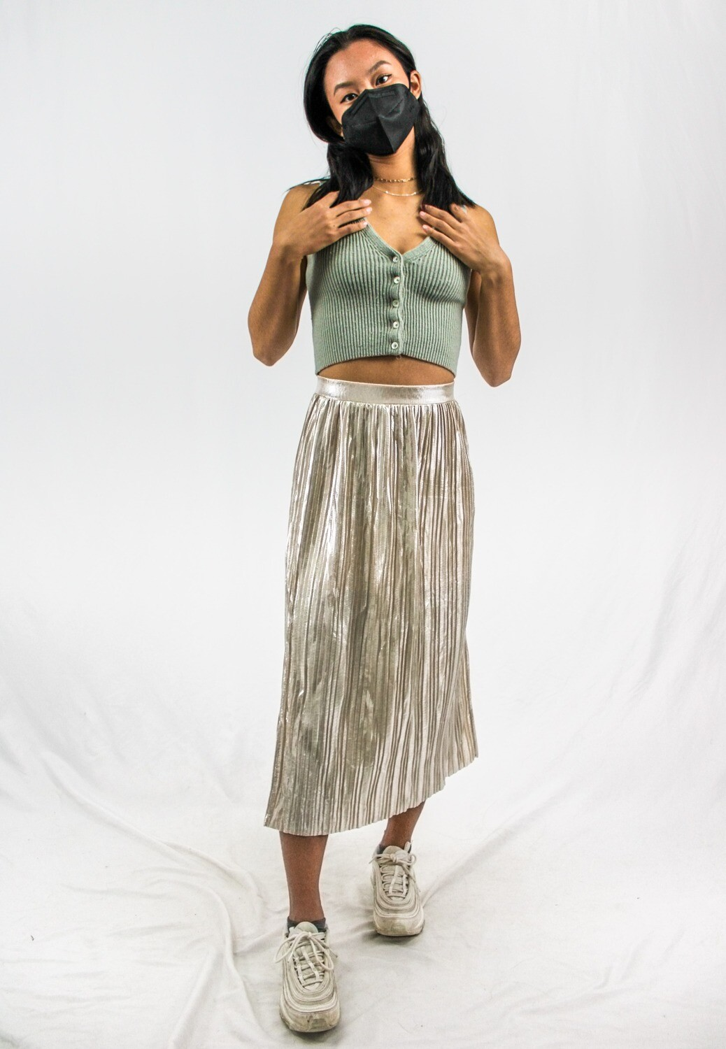 Gold Pleated Flowy Pants
