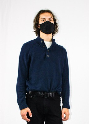 Navy Blue Quarter Buttoned Sweater