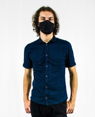 Navy Blue Suede Short Sleeve Button-up
