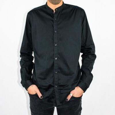 Black Collarless Button-up