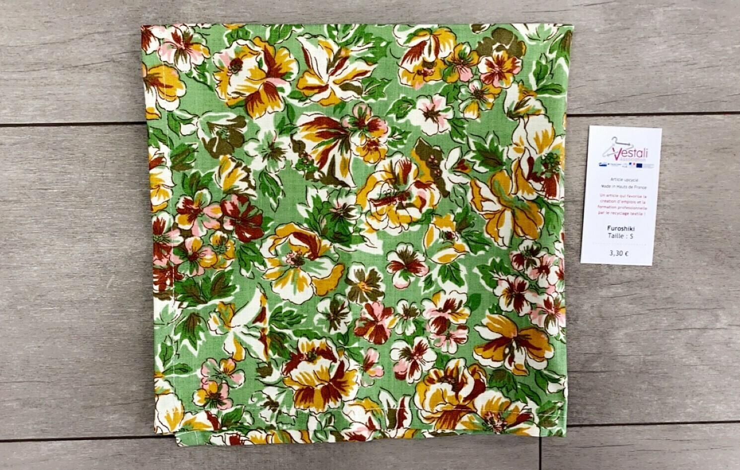 Furoshiki - Taille M - Vert à Fleurs