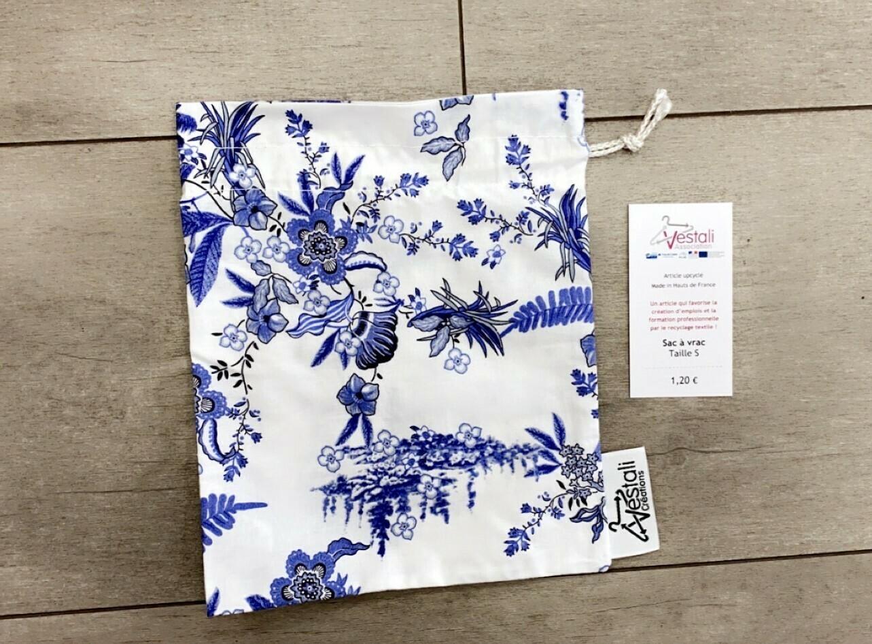 Sac à vrac - Motif fleurs bleues