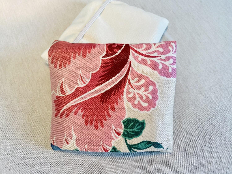 Pochette 5 Lingettes Double compartiment - Fleur rose