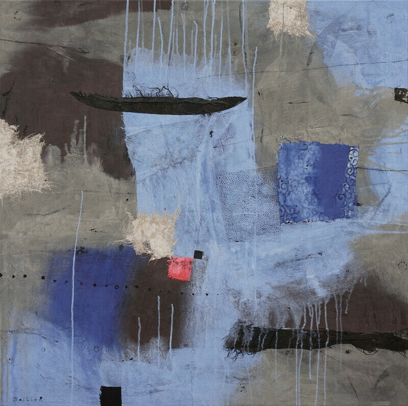 The grey landscape is becoming blue 110 x 110 cm