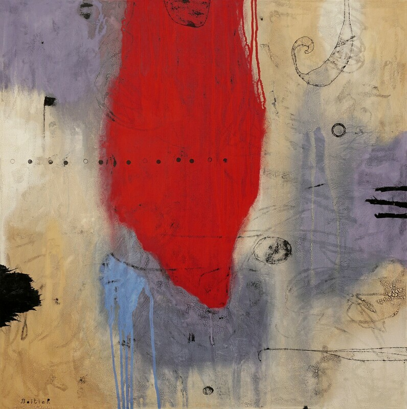 Rouge intrusion 100 x 100 cm